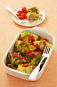 Cabbage leaves stuffed with mince, with tomatoes