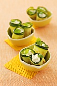 Grilled courgette rolls filled with soft cheese
