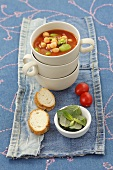 Tomato soup with beans and chick-peas