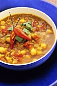 Spicy chick-pea and lentil soup with chillies