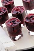 Summer fruit jelly in glasses