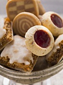 Gingerbread squares, Husarenkrapferl, pinwheel & checkerboard biscuits in silver dish