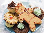 Plate of Christmas biscuits and gingerbread man