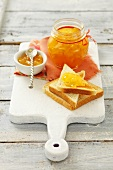 Peach and apricot jam with toast
