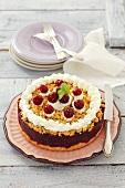 Cherry crumble cake with cream