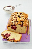 Cherry loaf cake, partly sliced