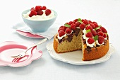 Raspberry cake with chocolate biscuits and cream