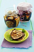 Grilled aubergines and courgettes preserved in olive oil