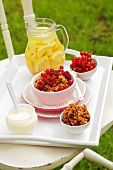 Cereal with raspberries and redcurrants, lemonade
