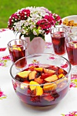 Sangria with oranges and peaches