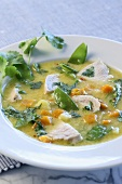 Coconut milk soup with chicken and vegetables