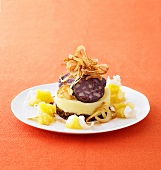 Mashed potato and parsnip with black pudding