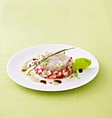 Zander tartare with radish salad and tofu & pumpkin seed sauce