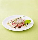 Zander tartare with radish salad and tofu & pumpkin seed sauce