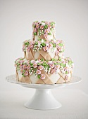 Three-tiered wedding cake