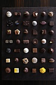 Lots of different pralines seen from above