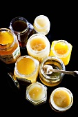 Jars of different honey
