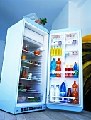 Various groceries in a fridge
