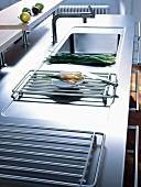 Stainless steel sink in a kitchen