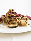 Tagliatelle with cep and radicchio sauce