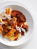 Rigatoni with meatballs and tomato sugo arrabbiata