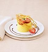 Mango parfait with pastry lattice and strawberries
