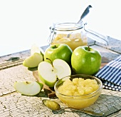 Apple puree and green apples