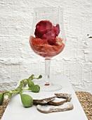 Rhubarb sorbet with grapefruit