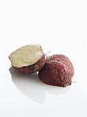 Halved sweet potato