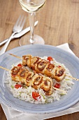 Turkey kebabs with lime rice