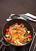 Roast chicken and vegetables in casserole