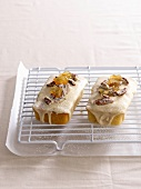 Small iced cakes with ginger, nuts and cinnamon