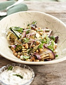 Aubergine, chick-pea and courgette salad