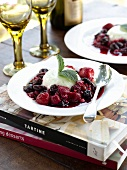 Buttermilk pudding with mixed berry compote