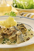 Eel with caper sauce and mashed potato