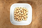 Chick-peas in dish from above