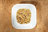 Naked barley in dish from above