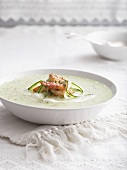 Cold cucumber soup with prawns and minted yoghurt