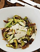 Warm courgette and chicken salad with Parmesan