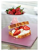 Strawberry and mascarpone sandwich in brioche