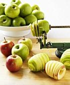 Apple spirals with spiral cutter