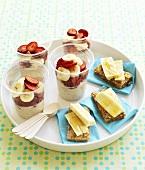 Fruit muesli and banana and bread for children's breakfast