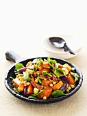 Sweet potato, spinach and red onion salad