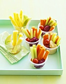 Fruit and vegetable sticks with dips