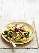 Ribbon pasta with courgettes, spinach and pancetta