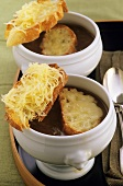 French onion soup with cheese croutes
