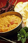 Dal (Indian lentil dish) with flatbread