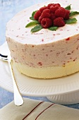 Raspberry mousse cake with fresh raspberries and mint