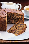 Fruit cake, a piece cut