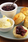 Scones with rhubarb and ginger jam